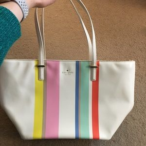 NWOT Kate Spade White and Multicolor Bag